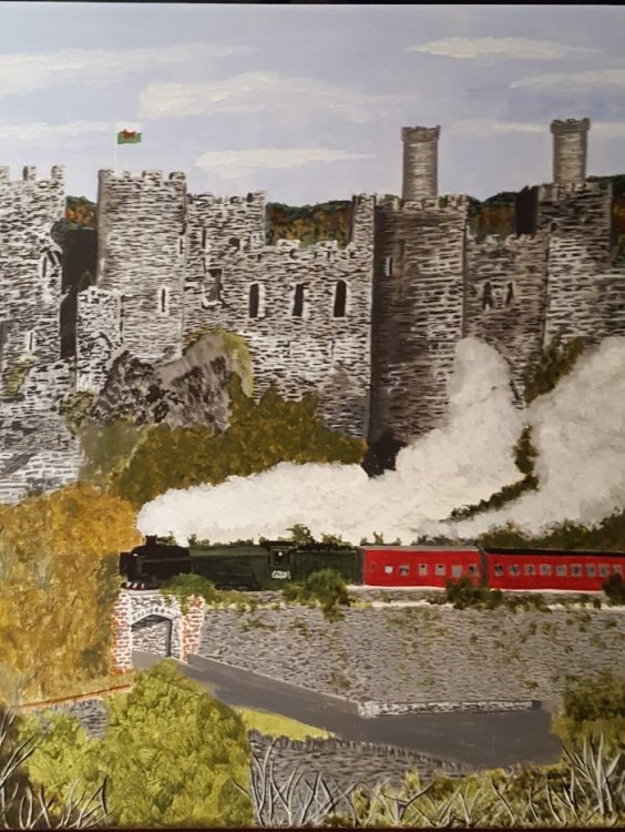Linda Davies. The Flying Scotsman at Conwy.  Acrylic