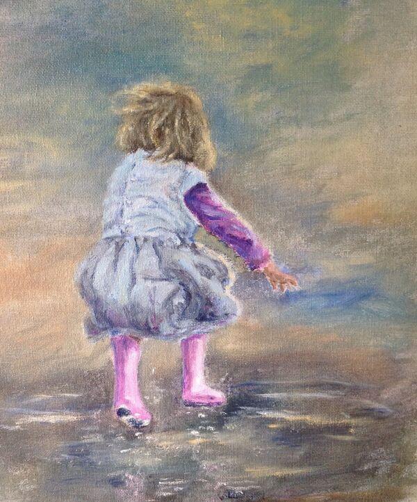 Marjorie Scott. The Joy of the Puddle. Oil on board. Unframed. £50
