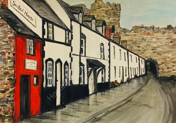 Gill Benjamin. The Smallest House, Conwy. Acrylic