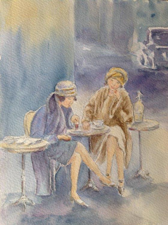 Marjorie Scott.  Parisian 'Coffee Break.  Watercolour