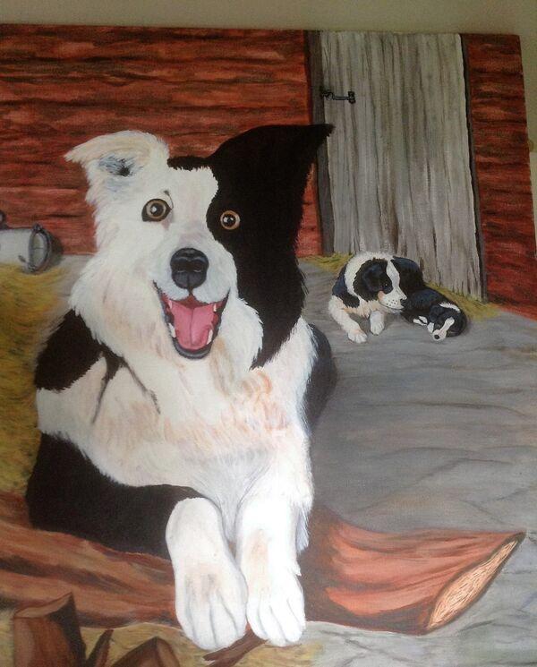 Jean Walker.   In the Farmyard.  Acrylic on 30''x30'' canvas.  £85.