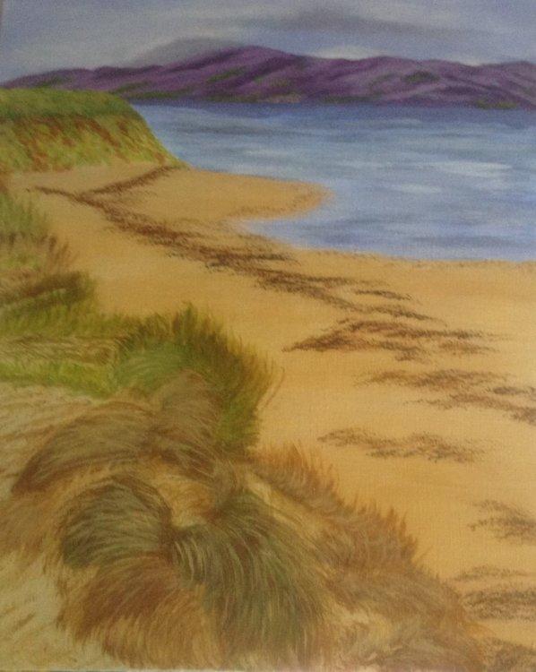 Jean Walker. Newborough Beach Anglesey. Acrylic