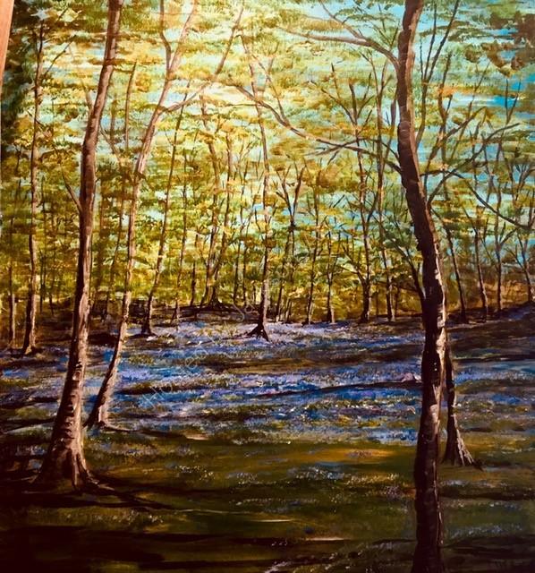 Gill Benjamin.  Bluebell Wood, Wanstead.  Acrylic