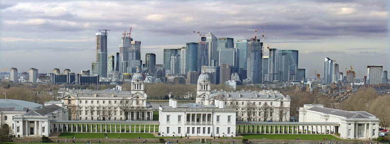 New Canary Wharf Towers over Old Greenwich