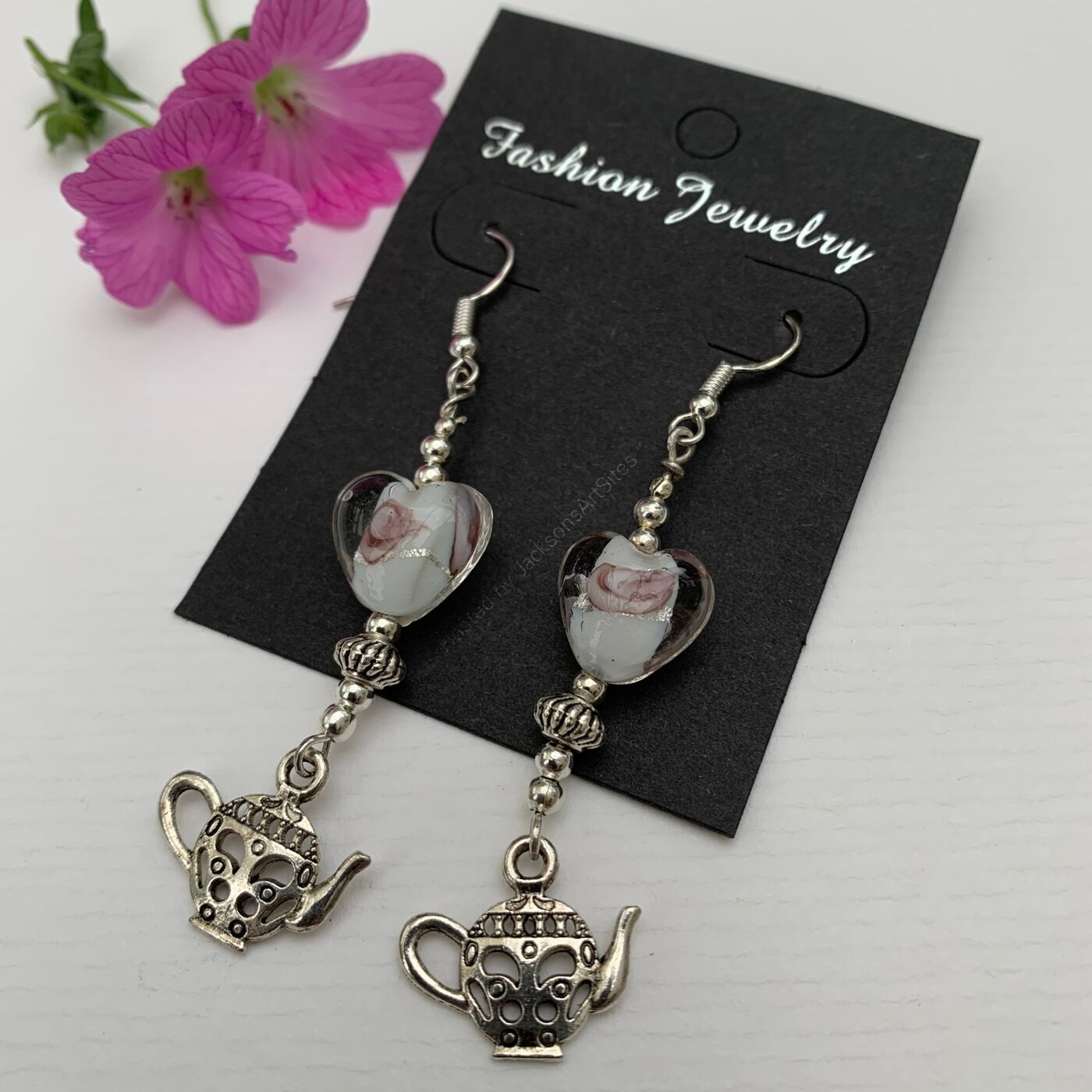 Pretty Tea Pot Earrings - White Rose