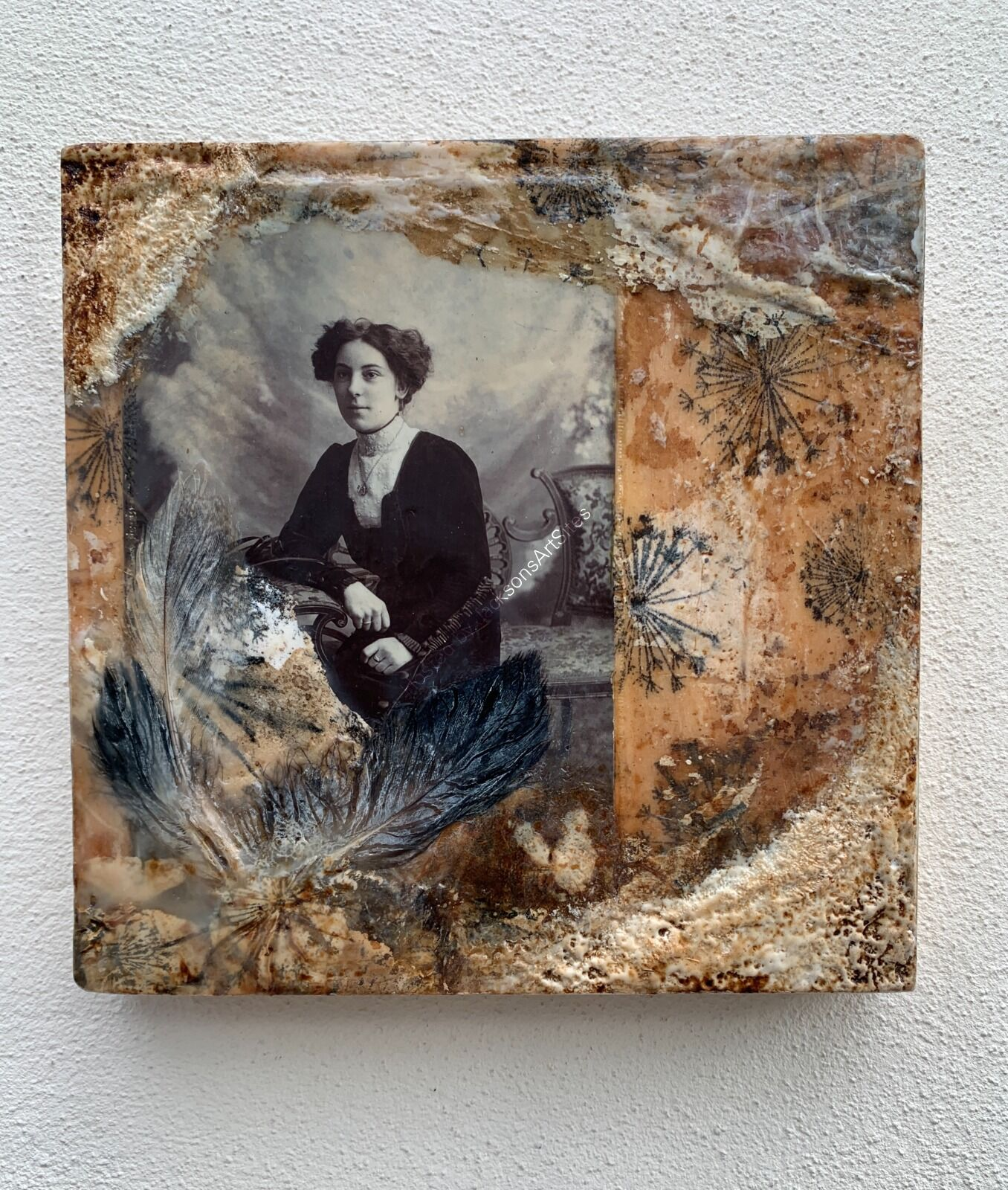 Lady In Black - Encaustic Wax & Tea Bags On Wood Board