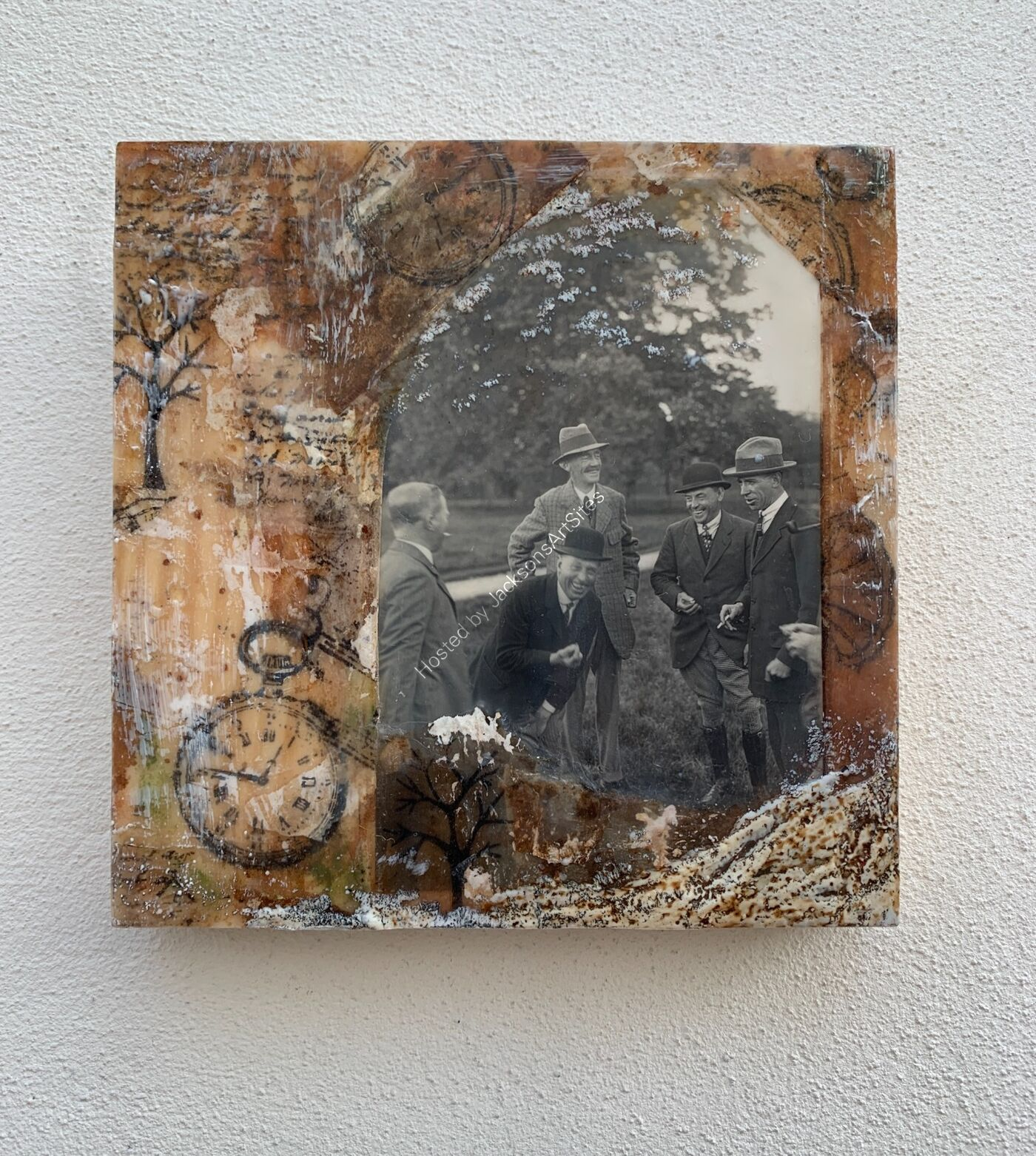 Past-time Laughter - Encaustic Wax & Tea Bags On Wood Board