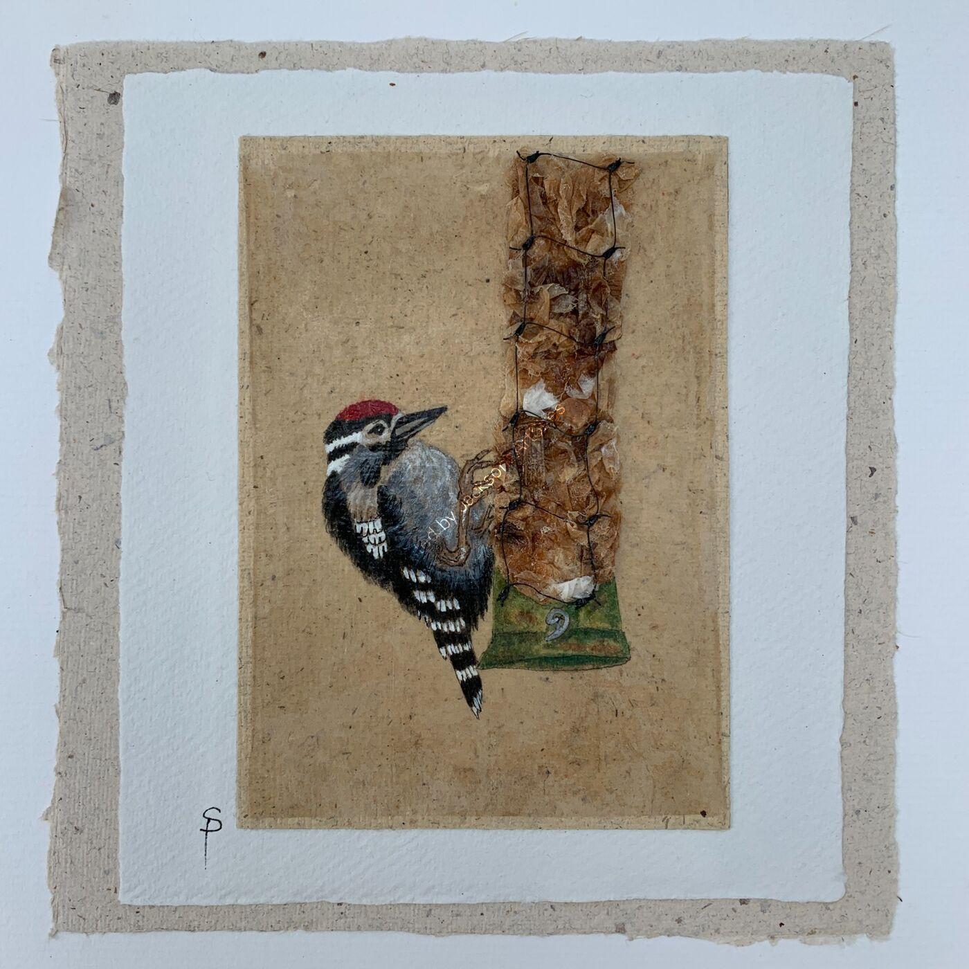 Woody Woodpecker - Tea Bag Art Painting