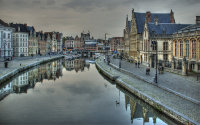 Dusk draws in over Ghent