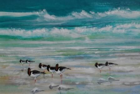 Oystercatchers at High Tide 2.