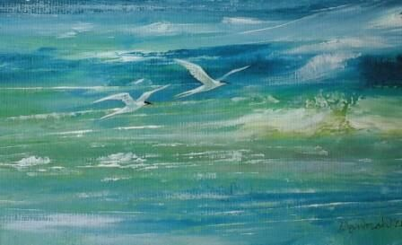 Two Terns and Green Sea.