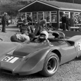 Doune Hill Climb - 25 September, 1983) Car 61, George Tatham (McLaren) with vision issues in the paddock...