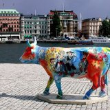 SWEDEN - Coloured Cow in Stockholm Harbour