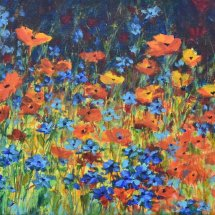Orange Poppies and Cornflowers