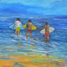 Boys off surfing