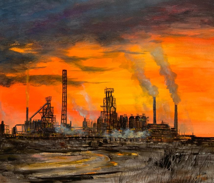Sunset Port Talbot Steelworks