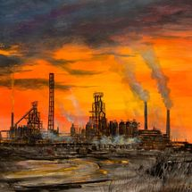 Sunset Port Talbot Steelworks