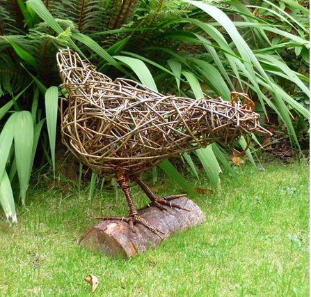 Chicken on log
