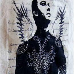 Textile art, stitched and beaded Urban Angel