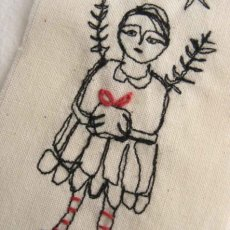 Little textile, free machine stitch