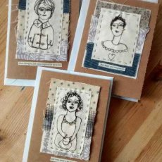 Textile greeting cards, the lunch ladies