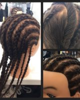 Corn rows and hair twists