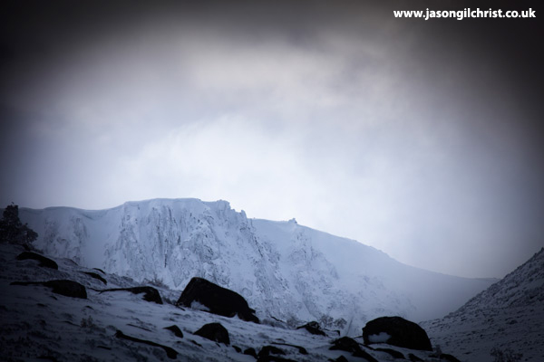 Ben Macdui and the Fiacaill buttress in winter snow