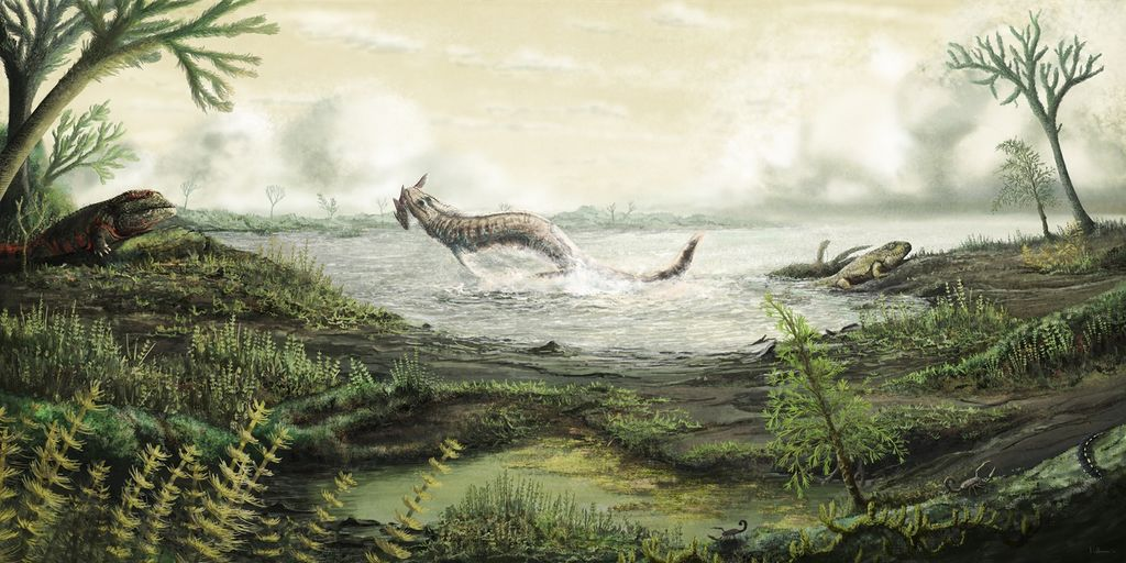 Carboniferous scene from Fossil Hunters by Mark Witton