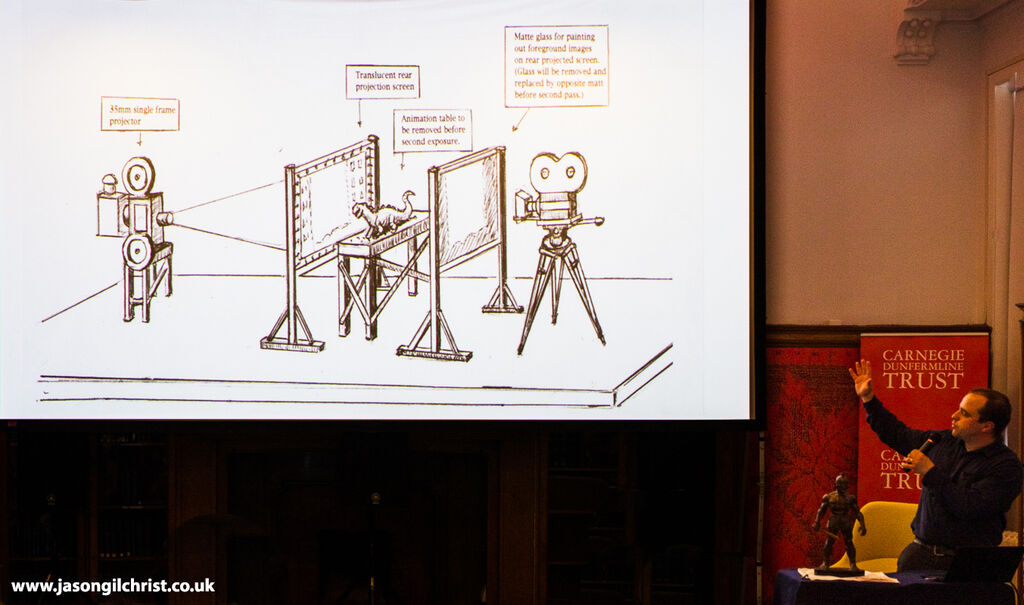 The Ray and Diana Harryhausen Foundation Collections Manager, Connor Heaney, illustrates the stop motion technique (special effects) pioneered by Ray Harryhausen
