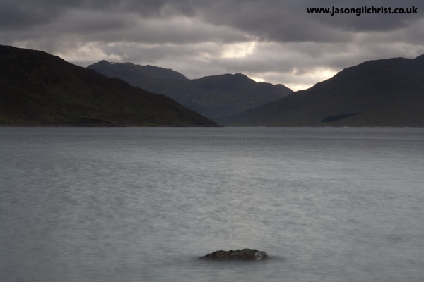 Lone stone in Loch Quoich