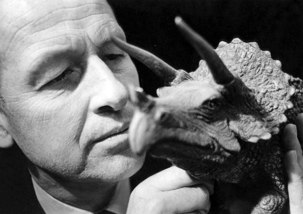 Ray Harryhausen with triceratops dinosaur