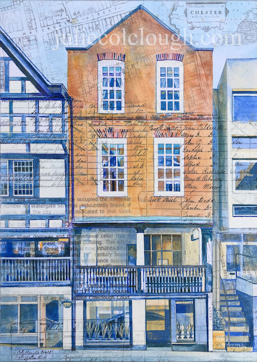 Painting on canvas of gallery on Watergate Street, Chester
