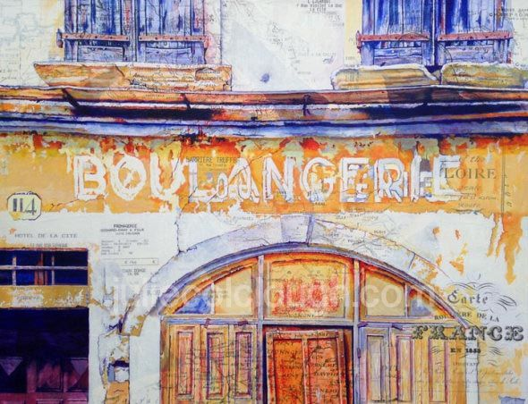 Painting of old Boulangerie shop in France