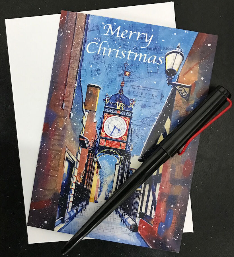 Christmas card of the Eastgate Clock in Chester