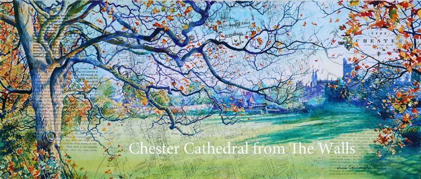 Painting of Chester Cathedral and Dean's Field viewed from The Walls