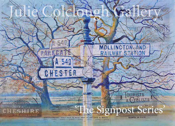 Painting of old Signpost pointing to Mollington, Chester and Parkgate