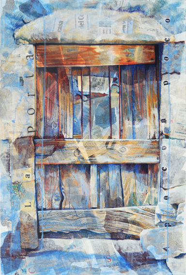Weathered old door, painted on canvas