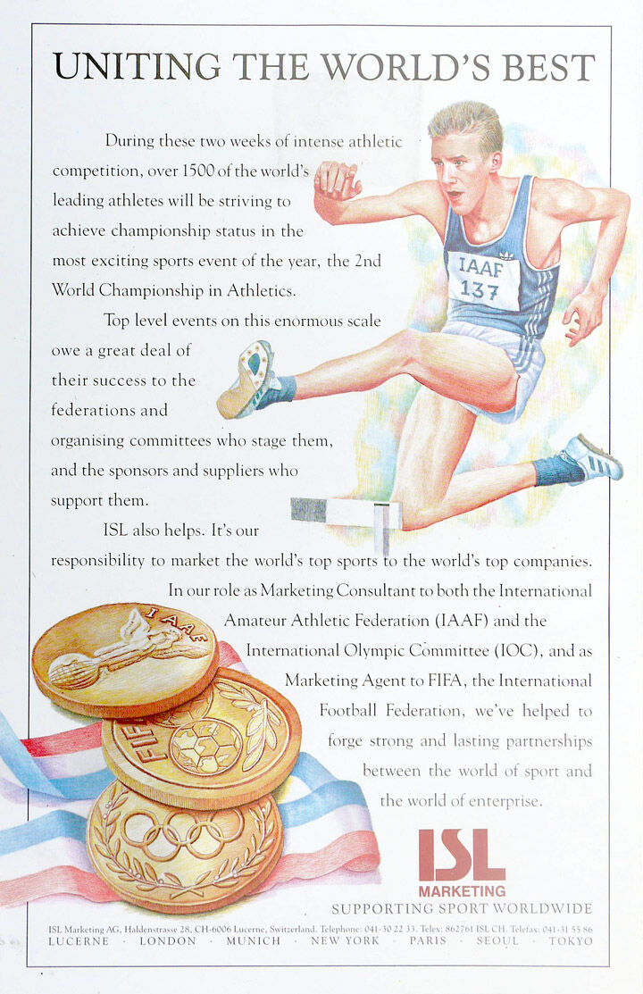Illustrations for ISL, marketing consultants for the Olympics, FIFA and the Athletics World Championships.