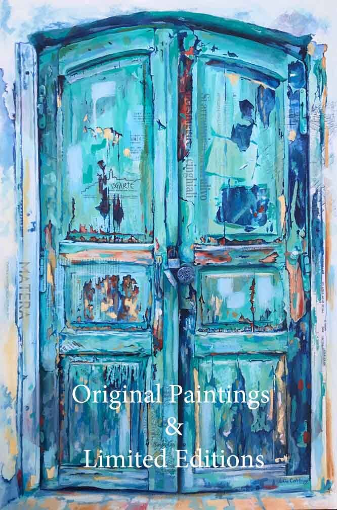 Painting of a weathered old green door with peeling paint
