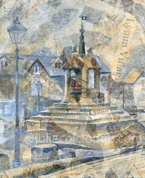Painting of Lymm Cross, monument in Lymm village