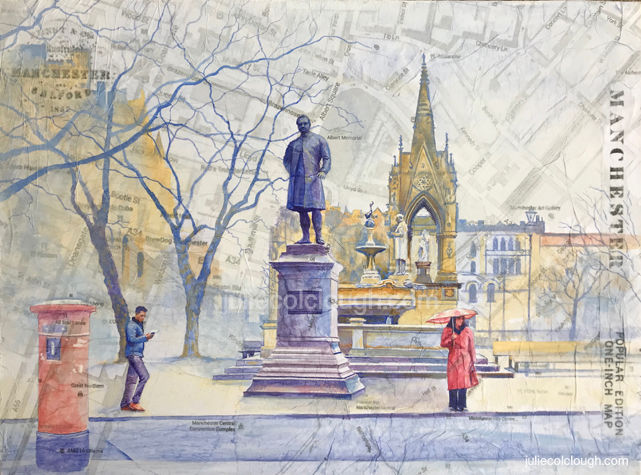 Painting on canvas of Manchester Albert Square