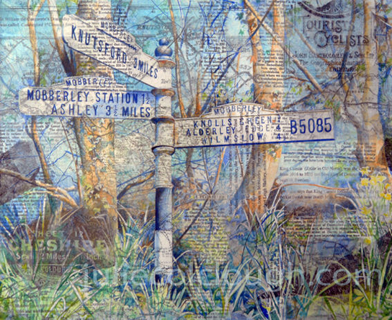Painting of signpost to Mobberley and  Knutsford