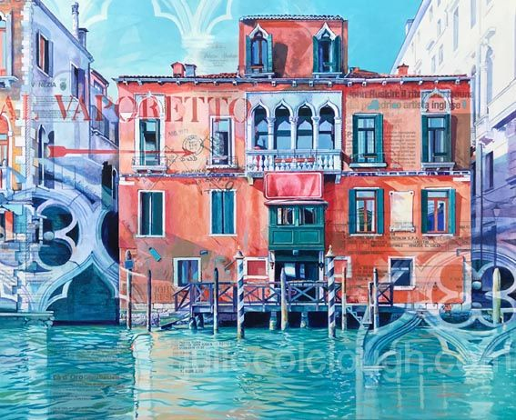 Painting of red building on the Grand Canal, Venice