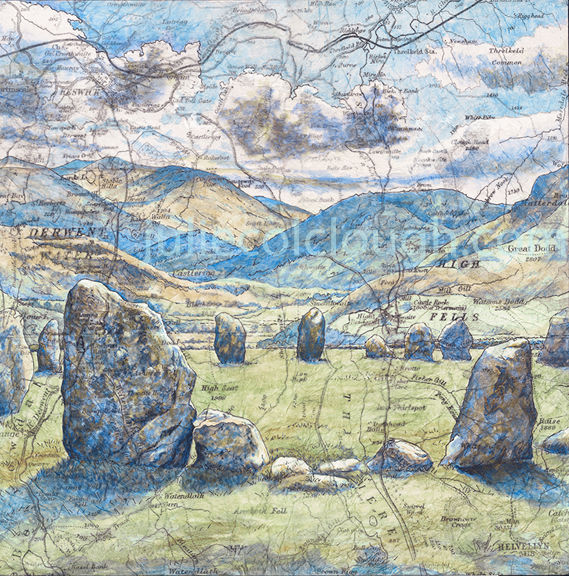 Painting of Castlerigg Stone Circle on an old map