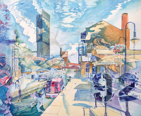 Painting of buildings and canal at Dukes 92, Castlefield, Manchester