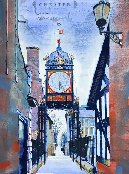 Painting of Chester's Eastgate clock seen from the Roman wall