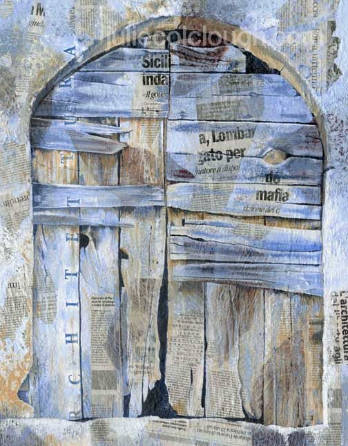 Painting on canvas of a weathered old door