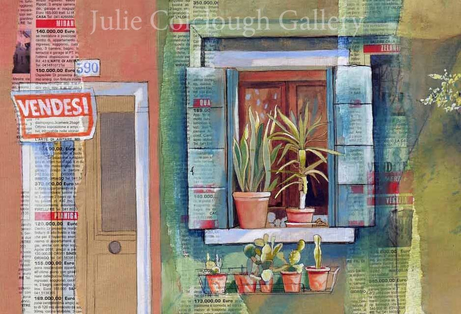 Painting of a window and plants in Venice