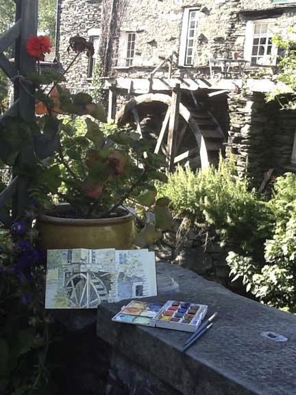 Sketching the waterwheel, Ambleside