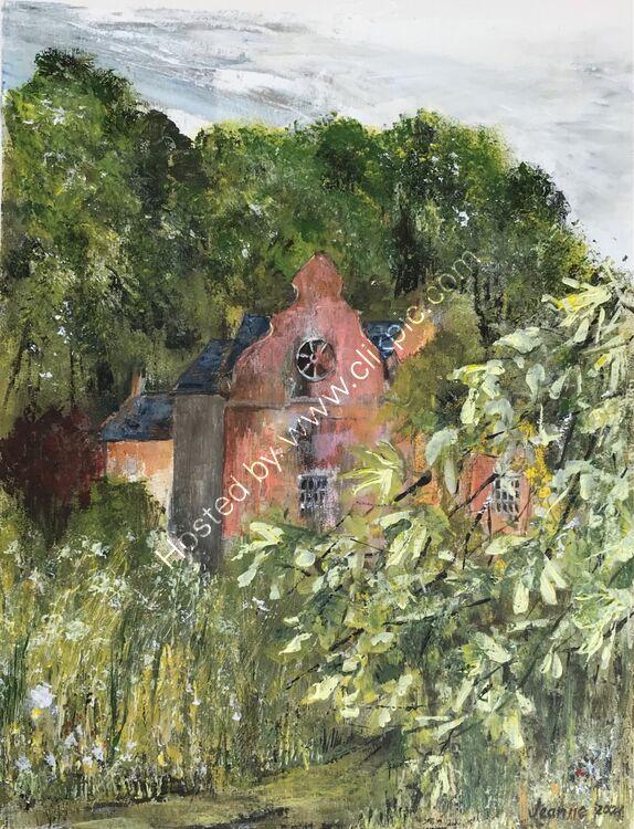 Through the trees - Norton Conyers Hall - acrylic